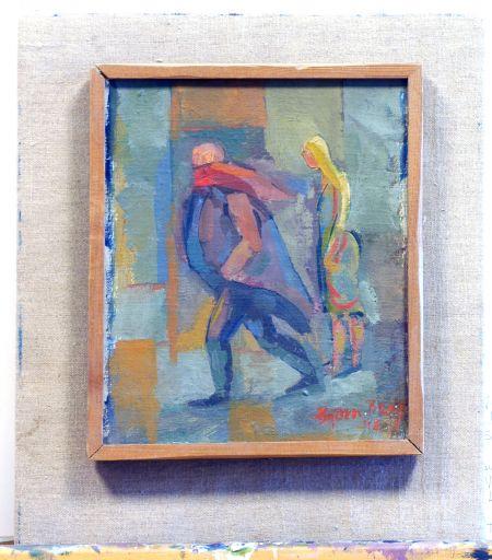 1948 Två i natt, Paris, 1948, Oljemålning