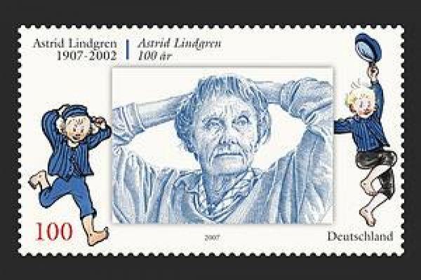 Frimärke Sverige 100 år Astrid Lindgren