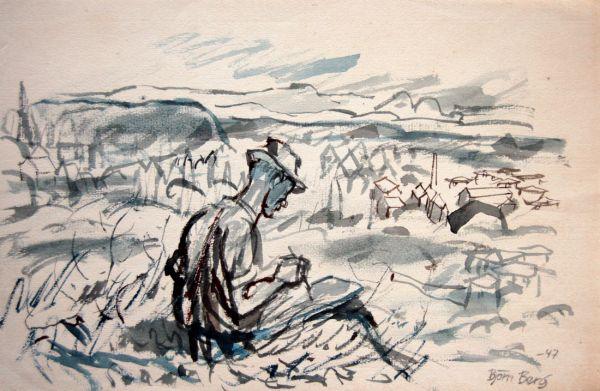 1947 Landskap med målare (Erik Kinell) nära Ljusnedal, Härjedalen