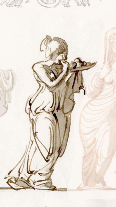 Rom tjänsteflicka som tar sig ett bett i en frukt