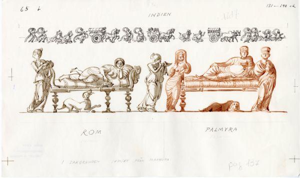 130tal Rom, man ligger till bords, hundar till sällskap, Palmyra liggande personer och fotsida dräkter. Hadrianus återinförde skägget – men för ungdom. När det blev grått rakades det av. I bakgrunden syns indiskt från mathura.