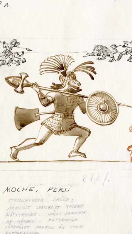 360tal Moche, Peru, stridsklubba, sköld, ärmlöst överkast som täcker höftskynke hålls samman av gördel. Baktill hänger en stor kopparklocka som ser ut som en yxa. Korea, första gången som stigbyglar som avbildas, men sådana har använts i Centralasien sedan 300 fKr.. Kelterna började sko sina hästar