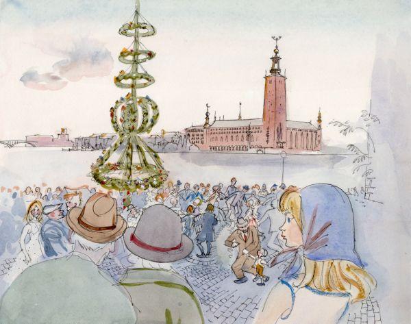 1964 midsommarafton på Riddarholmen med utsikt mot Stadshuset
