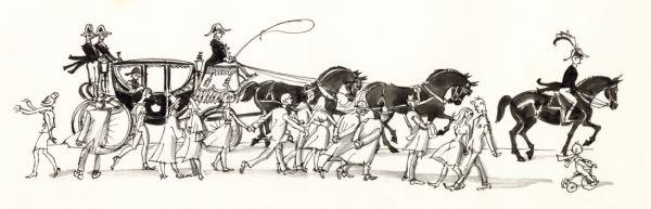 1964 fyra svarta hästar drar. Trehjulingen får pinna på för att hålla jämn fart med ekipaget