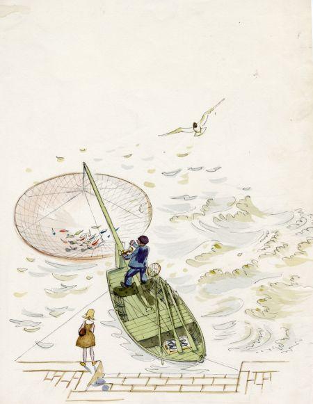 1964 Perspektiv på sänkhåv med nors fångad i Strömmen