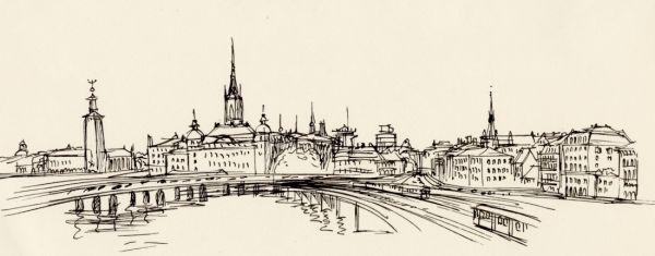 1964 vy från Slussen mot Riddarholmen. Stadshuset til vänster. Tyska kyrkans torn till höger. Tunnelbanan rakt fram