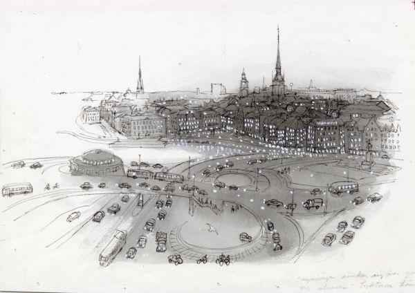 1960 Slussen och Gamla stan i skymningen