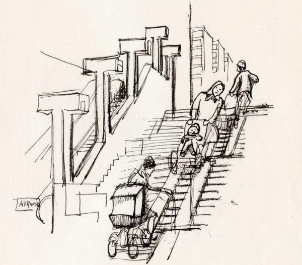 1969 Skärholmen rulltrappa är trasig, slavinnor kämpar upp.