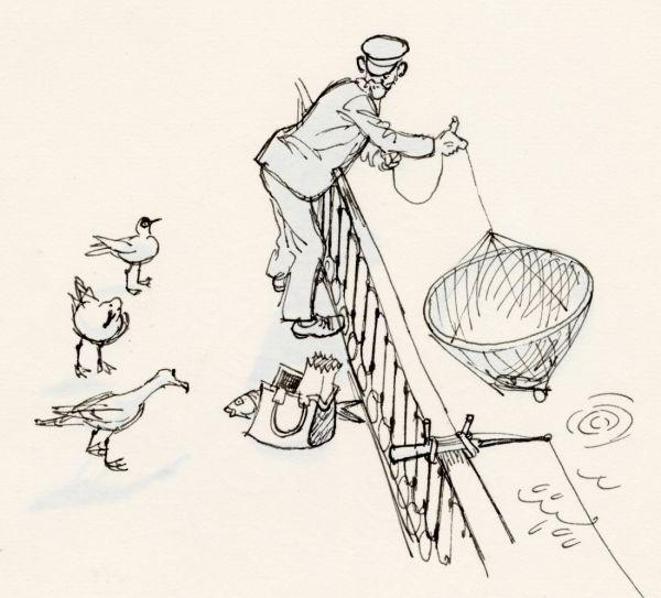 1966 Strömmens fiskare  med hungriga måsar i sällskapet