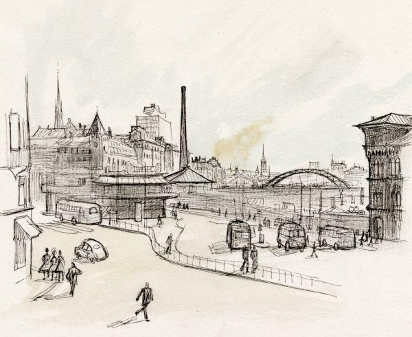 Norra Bantorget mot Kungsbron och spåren till högen ungefär 1960