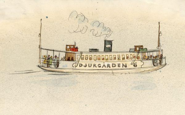 1964 Djurgårdsfärjan, akvarell