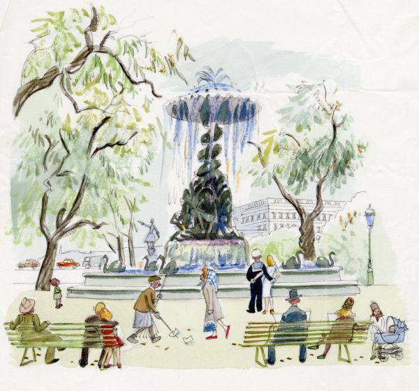1964 Molins fontän i Kungsträdgården