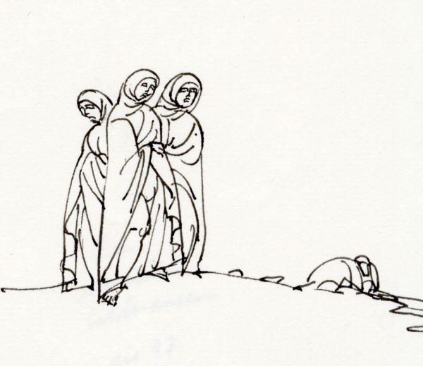 tre byzantinska damer