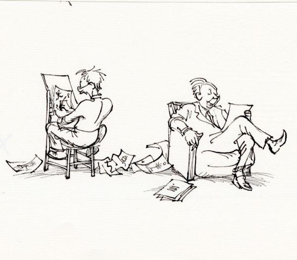 1976 Alf  Ritaren ritade skrivaren skrev. Alf och Björn var som ett radarpar. Det räcker att läsa en av verserna och titta på den bild som Björn skapade för att förstå hur de kompletterade varandra. Ibland är bilden ganska långt från versen, men ger ändå rätt känsla.