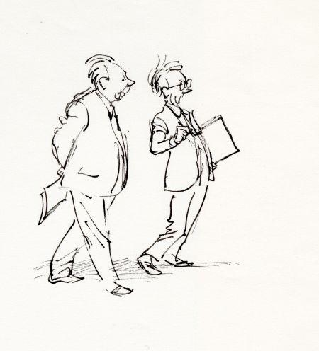 Alf  och Björn på Stillsam promenad. Alf filosoferar och Björn funderar.