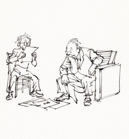 Alf och Björn 1976. Nu kommer nästa fas. Vilken bild skall vi välja, eller vilken vers.