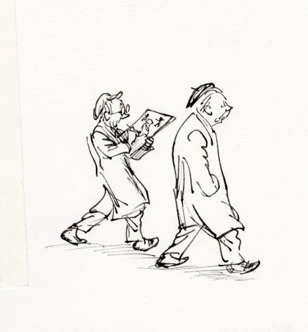 Alf och Björn 1976. Snabba skisser i mitt i steget, medan Alf berättar