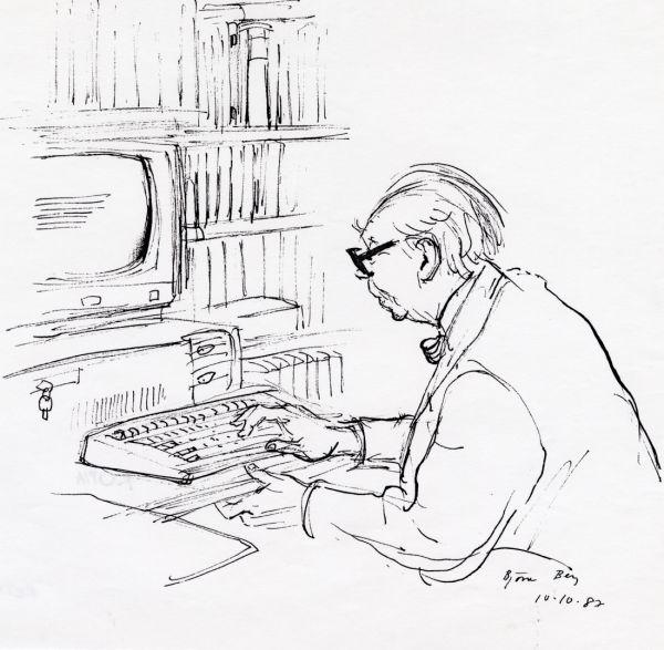 Alf H. 1987 Datorn   Alf Henrikson arbetar med sin nya dator  10 okt 1987