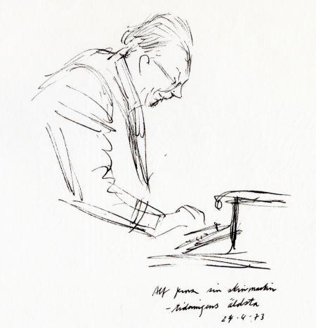 1973 24 APRIL Alf provar sin skrivmaskin, tidningens äldsta