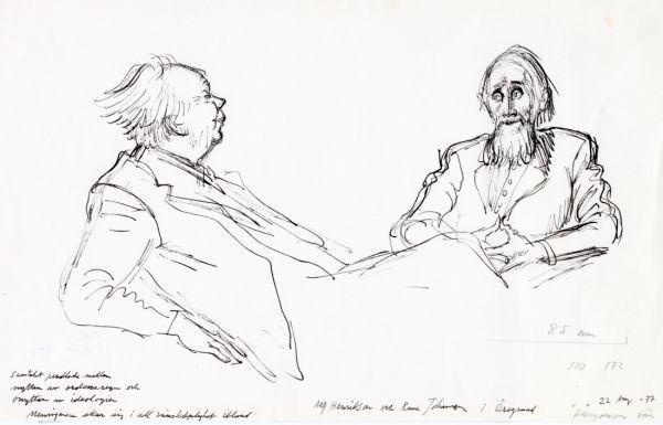 Alf H. 1977 Öregrund Alf och Rune Johanson i Öregrund, samtal pendlade mellan nyttan av ordensregn och onyttan av ideologier. Meningarna skar sig i all  vänskaplighet ibland 22 augusti 1977
