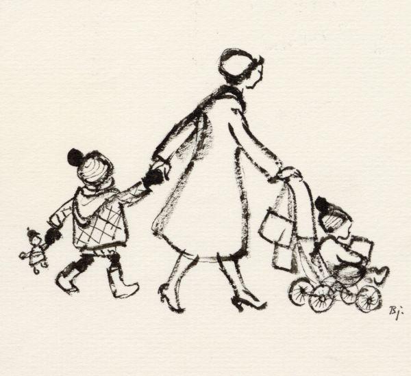 1962 mor och barn och barnvagn