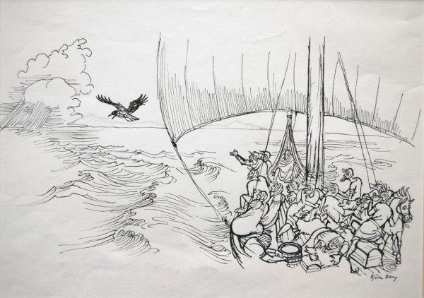 Isländsk saga, en kråka söker land