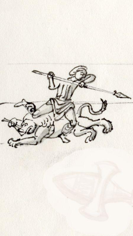 Lejon gladiator kamp 360 eKr