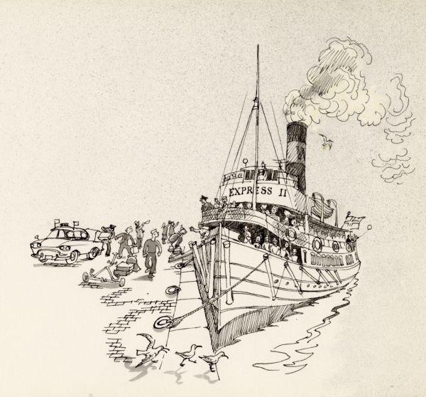 1964 Vaxholmsbåten Express II vid kaj